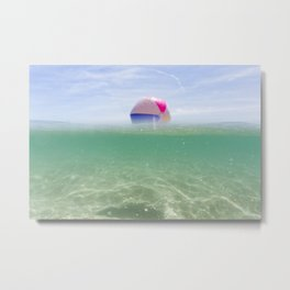 above and below clear blue sea with beach ball Metal Print