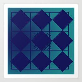 Blue,Diamond Shapes,Square Art Print