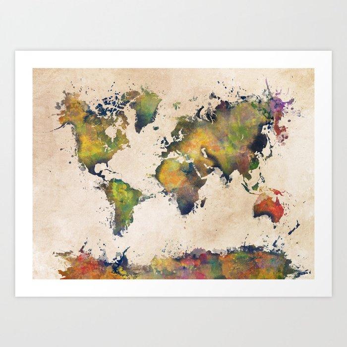 World map green splash art print by jbjart society6 world map green splash art print gumiabroncs Image collections