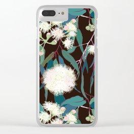Australian Gumnut Eucalyptus Floral in White + Expresso Clear iPhone Case