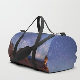 Delicate Arch Under the Starry Sky in Arches National Park Panorama Duffle Bag