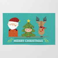 xmas Area & Throw Rugs featuring Merry xmas by Maria Jose Da Luz