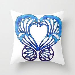 Bue Butterfly Throw Pillow