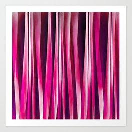 Burgundy Rose Stripy Lines Pattern Art Print
