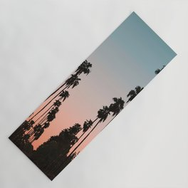 California Sunset // Palm Tree Silhouette Street View Orange and Blue Color Sky Beach Photography Yoga Mat