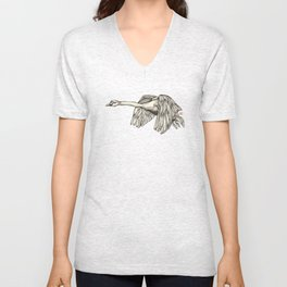 Flying Swan Unisex V-Neck