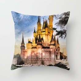 Castle Reflection Throw Pillow