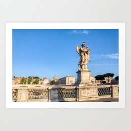 Angel with the Crown of Thorns at the Sant'Angelo bridge - Rome, Italy Art Print