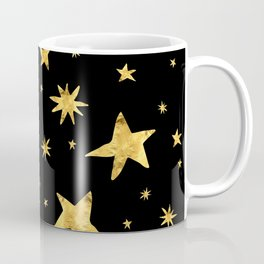 Gold Star Scatter Pattern on Midnight Black Sky Coffee Mug