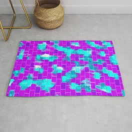 BRICK WALL SMUDGED (Purples, Violets & Turquoises) Rug
