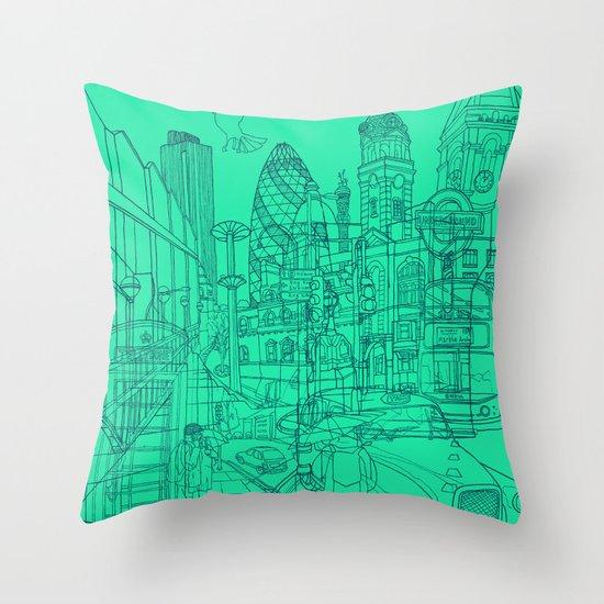 London! Mint Throw Pillow