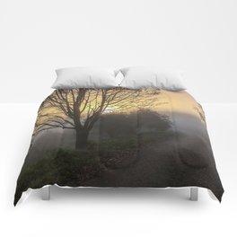 Foggy sunrise Comforters
