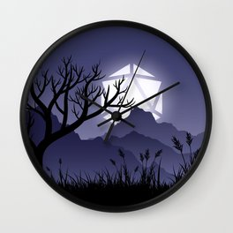 Scary Night Halloween D20 Dice Moon Dead Tree Tabletop RPG Landscape Wall Clock