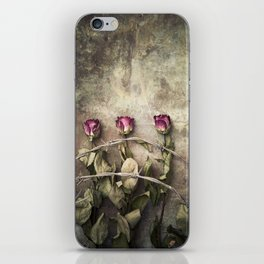 Three dried roses and barbed wire iPhone Skin