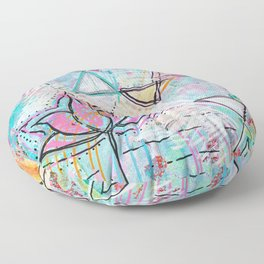 Mixed Media Lotus Floor Pillow