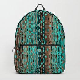 Retro Bohemian Gypsy Beaded Dangles // Vertical Gradient Chocolate Brown, Turquoise, Teal Backpack