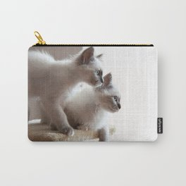 Portrait of two white long hair birman cats with blue eyes. Carry-All Pouch