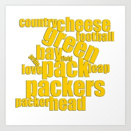 Green Bay Typography Packers Word Art Art Print