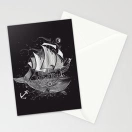 Great white whale and a sailing ship Stationery Cards