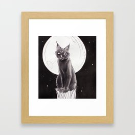 Black Cat and the Moon Framed Art Print