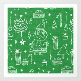 Santa Workshop Green Art Print