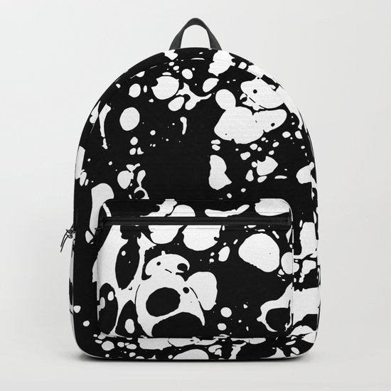 Black and white contrast ink spilled paint mess Backpack
