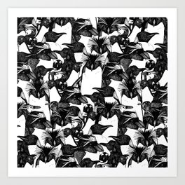 just penguins black white Art Print