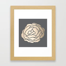 Rose in White Gold Sands on Storm Gray Framed Art Print