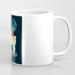Llama Sloth Christmas Santa's Sleigh Silhouette In Front Of The Moon Coffee Mug