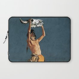 """Western Art """"Conjuring Back the Buffalo"""" by Frederic Remington Laptop Sleeve"""