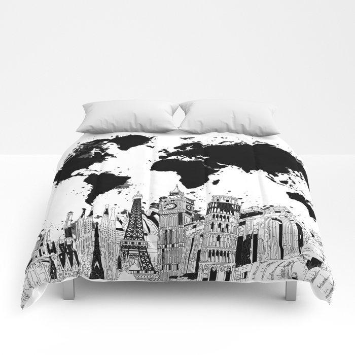 world map city skyline 4 Comforters by bekimart
