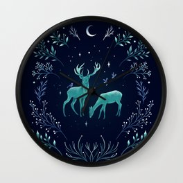 Deers in the Moonlight - Frosted Mint Wall Clock