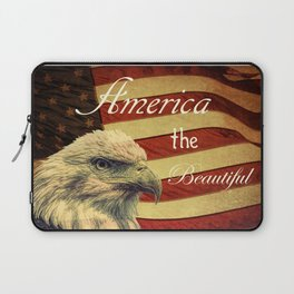 America the Beautiful Rustic Flag A109 Laptop Sleeve
