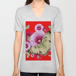 CHINESE RED BUTTERFLIES & PINK HOLLYHOCKS ART Unisex V-Neck