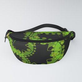 Spring pastel green circles and ellipses depicting abstract flowers on a black background. Fanny Pack