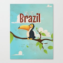 Vintage fly to Brazil Toucan Travel Poster Canvas Print