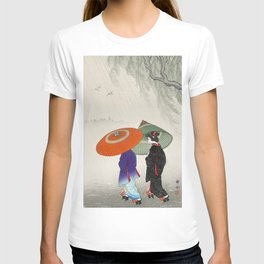 Women walking in the rain - Vintage Japanese Woodblock Print T-shirt