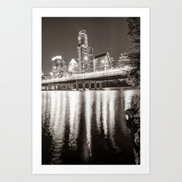 Austin Skyline Over Lady Bird Lake Reflections - Sepia Edition Art Print