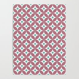 Dusty pink, menthol green and white elegant tile ornament pattern Poster