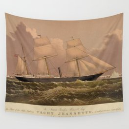 Vintage Illustration of a Frigate Sailboat (1881) Wall Tapestry