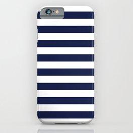 Navy Blue Nautical Stripe H Minimal iPhone Case