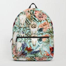 Pattern tropical boho skull Backpack