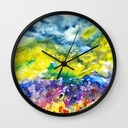 Spring in the mountains. Watercolor  Wall Clock