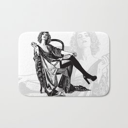 Retro Woman Wearing Vintage Lingerie and Drinking from Flask Bath Mat
