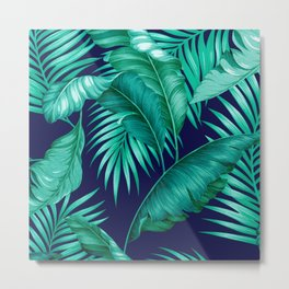 HAWAIIAN GARDEN TROPICAL LEAVES | turquoise navy Metal Print