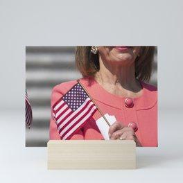 Nancy Pelosi with American Flag Mini Art Print