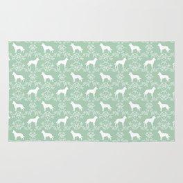 Australian Kelpie dog pattern silhouette mint florals minimal dog breed art gifts Rug