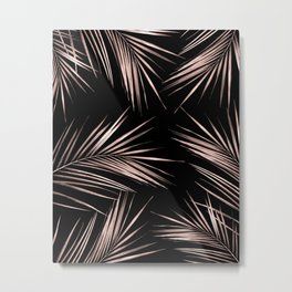 Rosegold Palm Tree Leaves on Midnight Black Metal Print