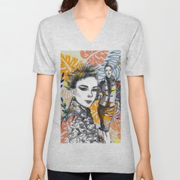 Fashion Illustration 5 High Fashion Girl Unisex V-Neck
