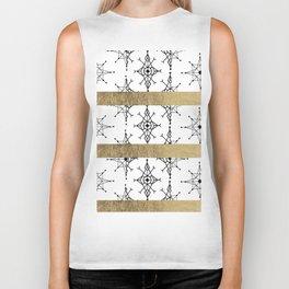Geometrical black white faux gold snowflake Biker Tank